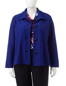 Kasper Plus-size Blue Button Down Jacket