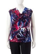 Kasper Abstract Print Knit Top