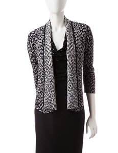 Kasper Animal Print Cardigan