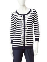 Cathy Daniels Striped Floral Appliqué Sweater