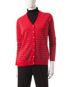 Cathy Daniels Metallic Striped Knit Cardigan