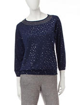 Cathy Daniels Embellished Knit Top