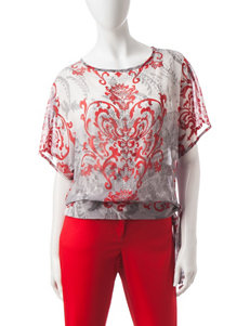 Hearts of Palm Red Multi Shirts & Blouses