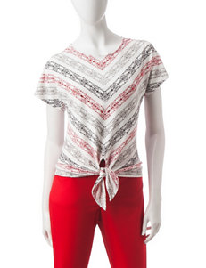Hearts of Palm Chevron Striped Print Top