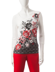 Hearts of Palm Multicolor Floral & Sequin Top