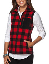 Chaps Buffalo Check Plaid Fleece Vest