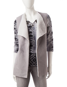 Ruby Road Grey Shearling Faux Suede Vest
