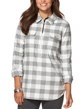 Chaps Plaid Print Pullover Top