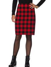 Chaps Buffalo Check Plaid Pencil Skirt
