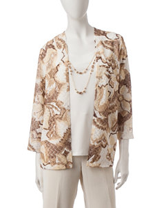 Alfred Dunner Brown Multi Shirts & Blouses
