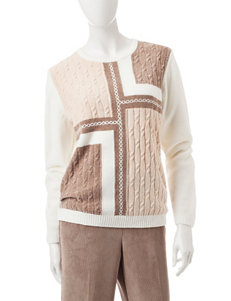 Alfred Dunner Color Block Knit Sweater