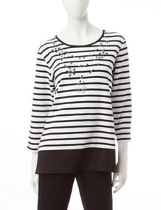 Alfred Dunner Striped Print Embellished Top