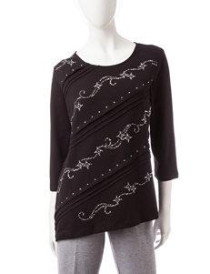Alfred Dunner Textured Embellished Knit Top