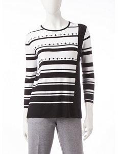 Alfred Dunner Striped Embellished Knit Top