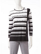 Alfred Dunner Striped Embellished Knit Top