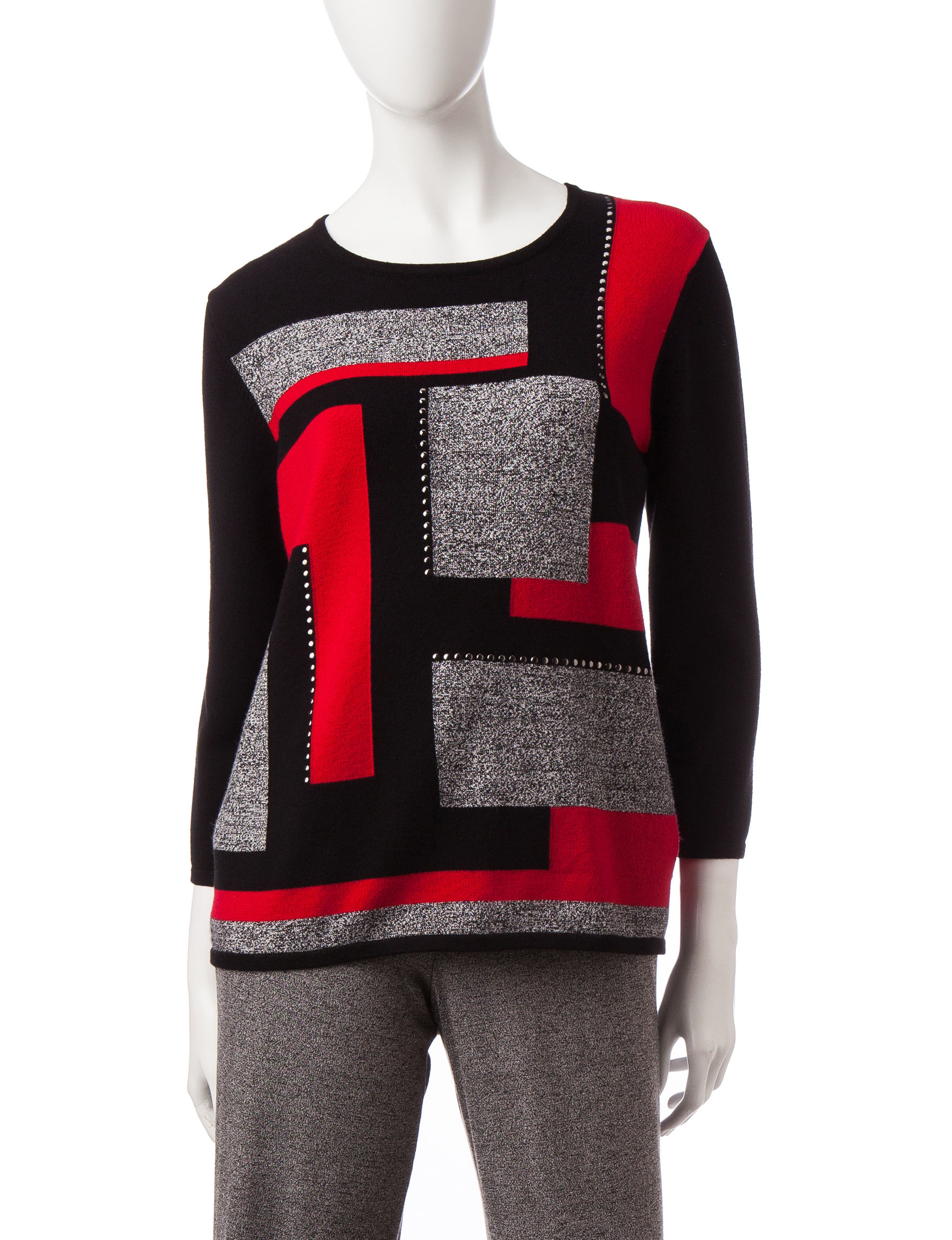 Alfred Dunner Black Multi Pull-overs Sweaters