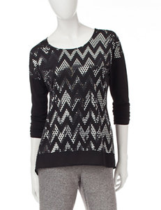 Notations Sparkle Chevron Print Top