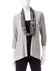 Notations Ribbed Layered-Look Cardigan