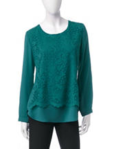 Notations Green Lace Overlay Top
