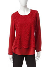 Notations Red Lace Overlay Top