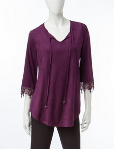 Notations Purple Faux Suede Peasant Top