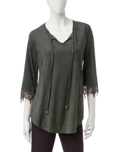 Notations Green Faux Suede Peasant Top
