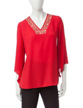 Notations Red Embellished Top