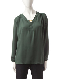 Notations Olive Green Popover Top