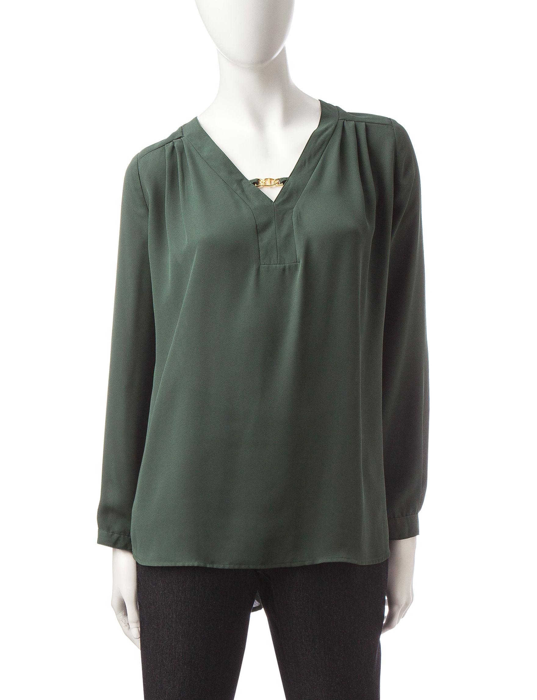 Notations Dark Green Shirts & Blouses