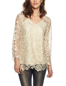 Skye's The Limit Metallic Foil Lace Layered-Look Top