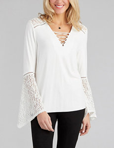 Democracy Solid Color Lace Knit Top