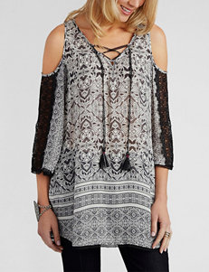 Democracy Cold-Shoulder Abstract Print Top