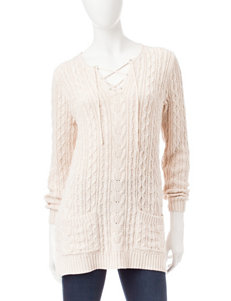 Jeanne Pierre Beige Cable Knit Sweater