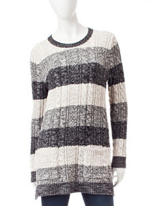 Jeanne Pierre Stripe Print Cable Knit Sweater