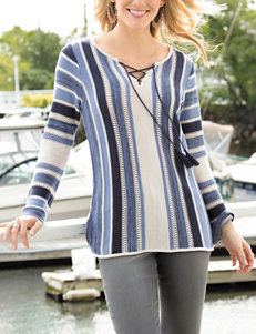 Hannah Lace-Up Striped Knit Sweater
