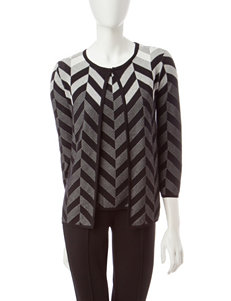 Kasper Chevron Knit Sweater