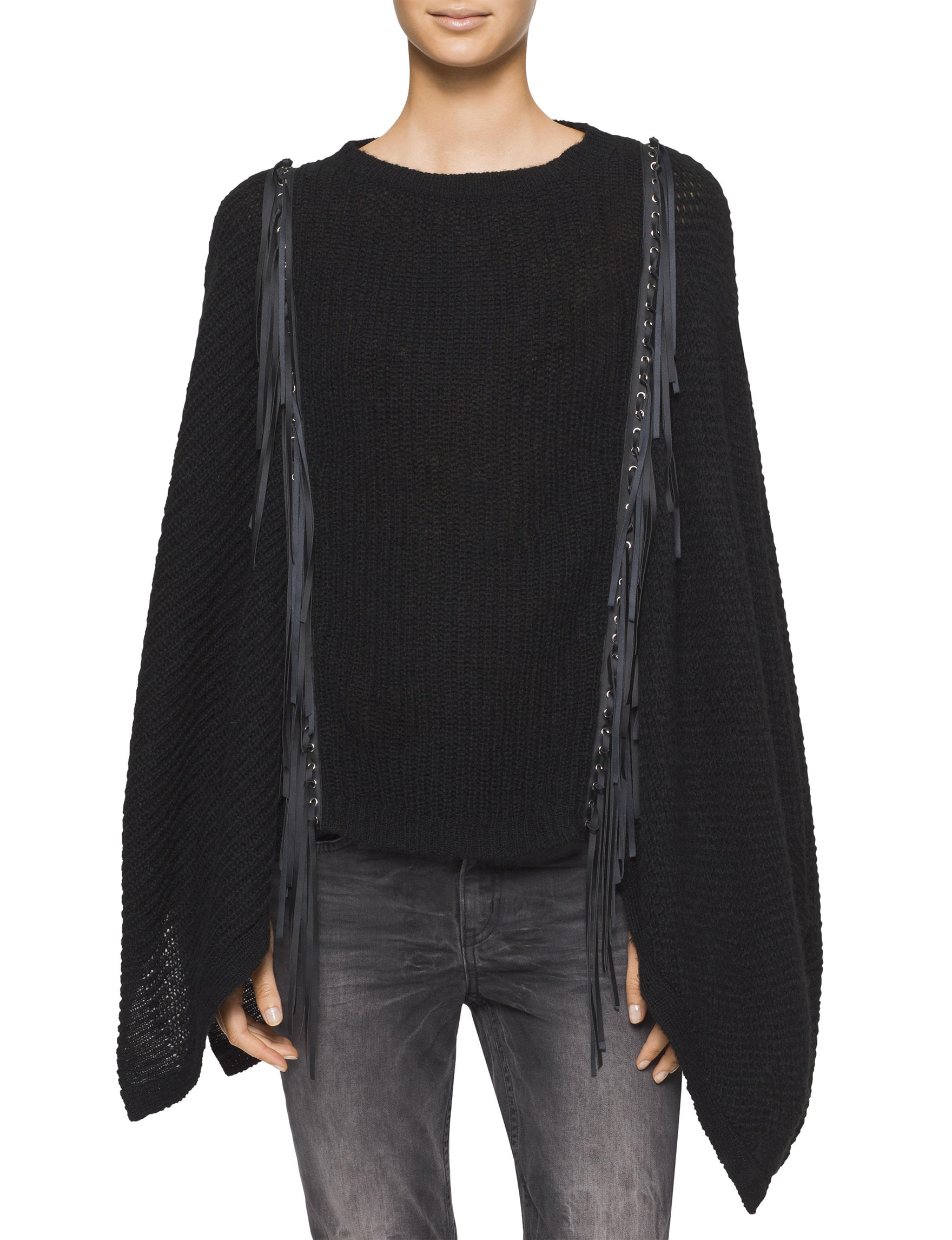 Calvin Klein Jeans Black Ponchos Pull-overs Sweaters