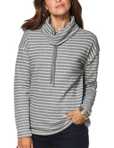 Chaps Funnel Neck Striped Print Sweater