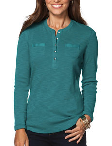 Chaps Teal Henley Top