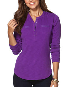 Chaps Purple Henley Top