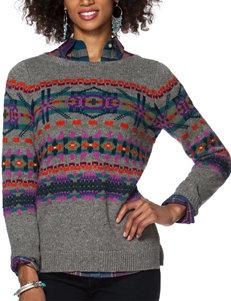 Chaps Dark Grey Fair Isle Knit Sweater