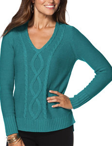 Chaps Teal Cable Knit Sweater