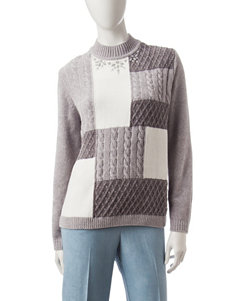 Alfred Dunner Embellished Color Block Sweater