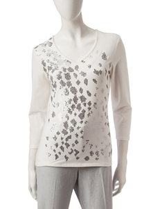 Hearts of Palm Silver Sequined Top