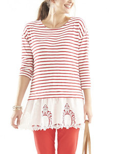 Hannah Striped Embroidered Trim Top