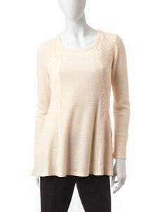Hannah Ribbed Knit Lace Inset Top