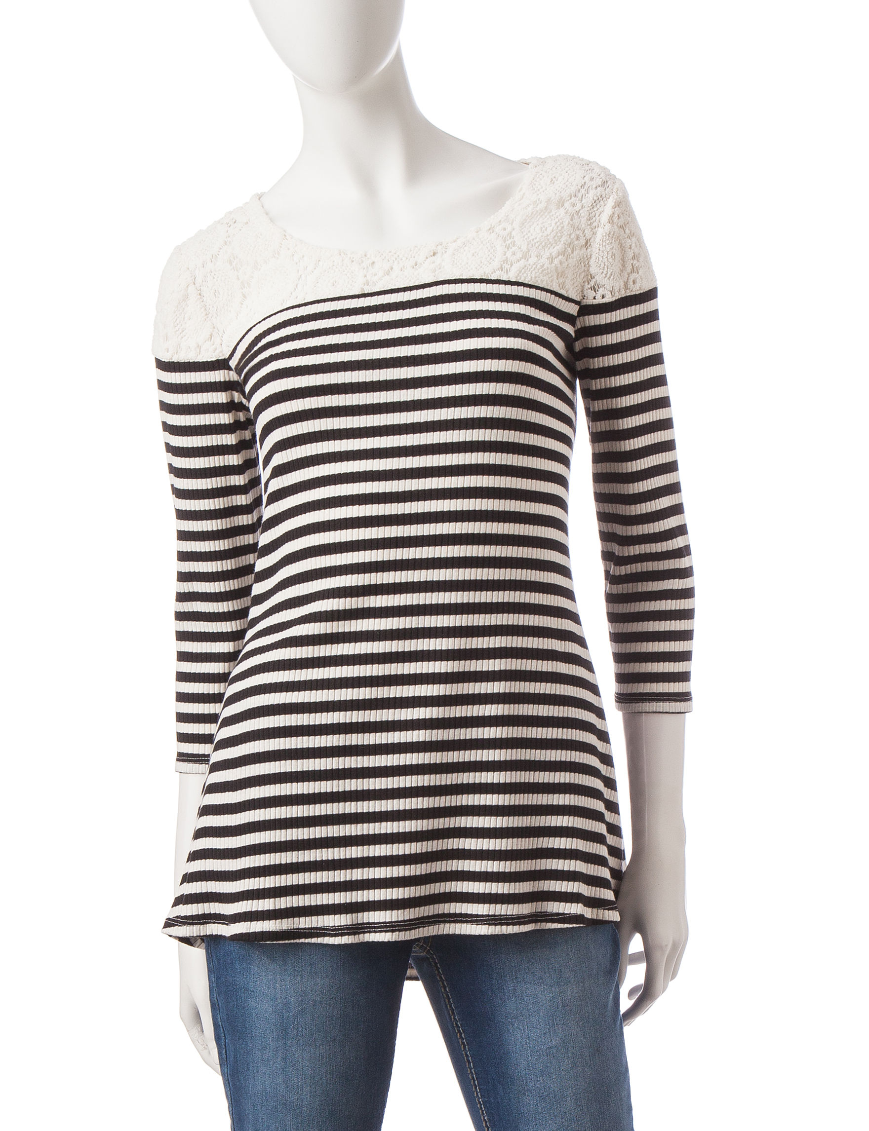 Hannah Navy / Ivory Shirts & Blouses