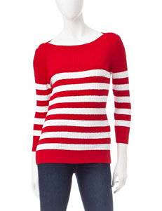 Jeanne Pierre Red / White Pull-overs Sweaters