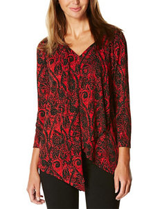 Rafaella Black & Red Abstract Print Sparkle Top