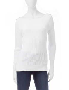 Jeanne Pierre White Pull-overs Sweaters